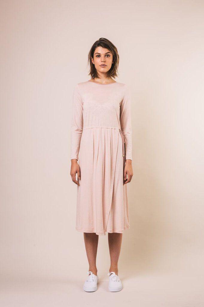 Lydia dress, nz merino, blush