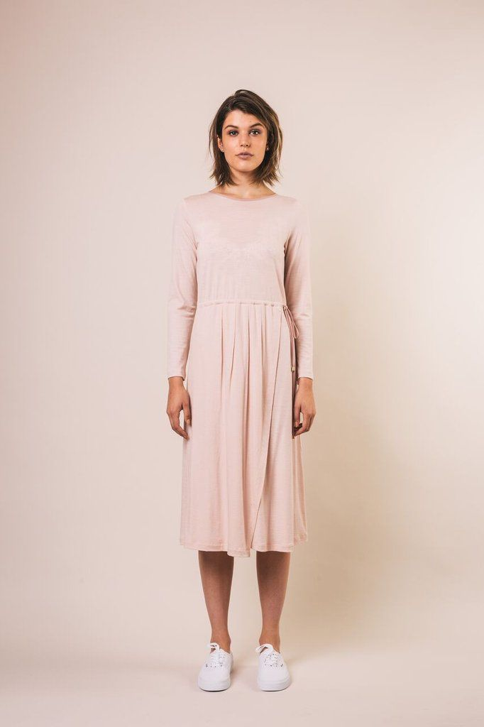 Lydia dress, nz merino, blush