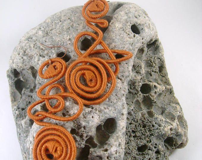 Caramel Brown  yarn-wrapped earrings/ caramel brown/ cotton yarns/ thread-wrapped/ handmade/