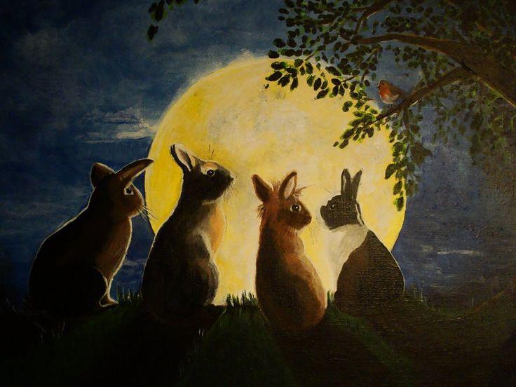 Schilderij met konijnen in het maanlicht. Wensschilderij, gemaakt in opdracht. www.roosjerosalie.nl