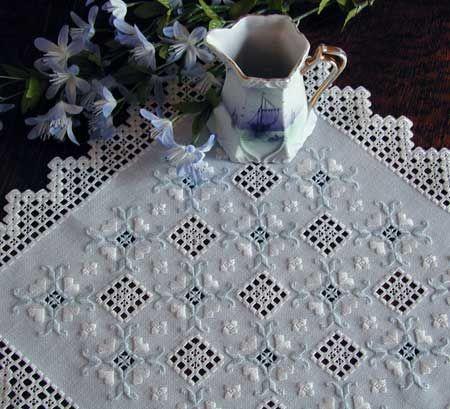 Pristine Hardanger Table Center by Cindy Valentine Designs