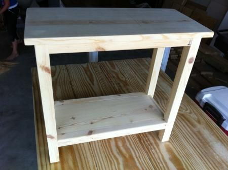 the quaint cottage diy simple end table for small spaces make to right height width to fit the basket for the bottom possibly add a small piece of trim