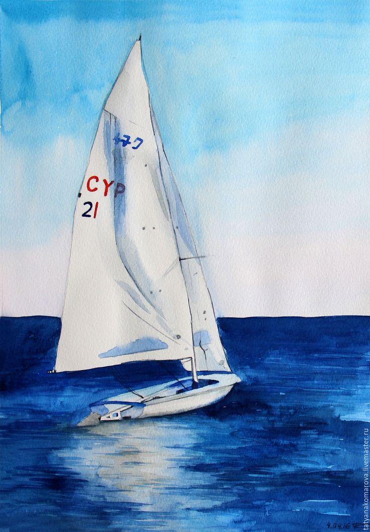 """Купить Акварельный этюд """"Белый парус"""" - синий, белый, акварельный рисунок, акварель, акварельная картина"""