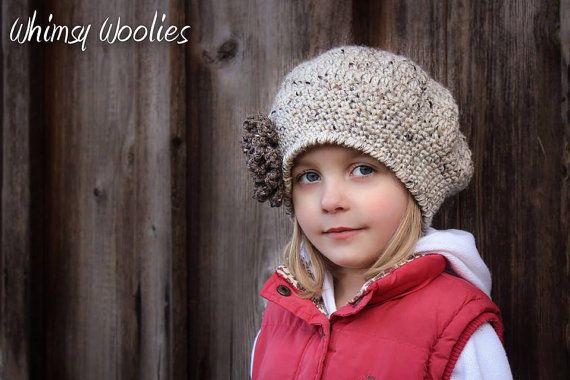 Pattern 'Sofia Belle Beret' with Loopy Flower by whimsywoolies, $4.99
