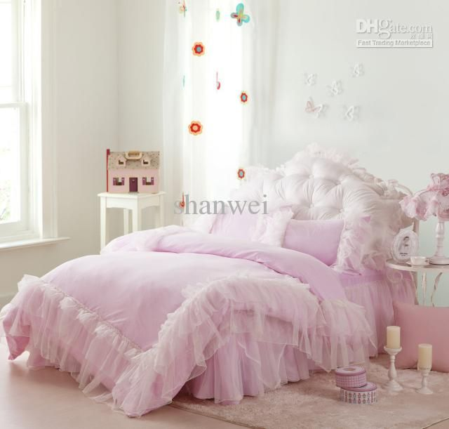 Exquisite Pink Lace Princess Satin 100% Cotton Bedding Set For Queen /full  Size Comforter Girls Lady Duvet Doona Cover Bed Skirt Set Gift