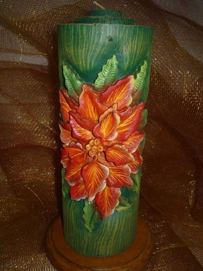painted carved candle