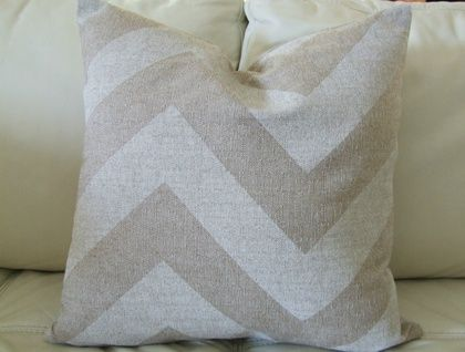 Beautiful Chevron Cushion Cover, White and Natural