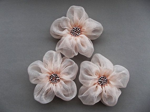 cool Pale Pink Fabric Flowers Handmade Appliques by BizimSupplies...