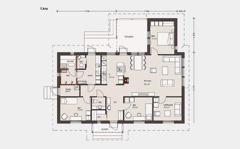Omatalo_148-13_p1, k+oh+takan paikka. Paljon hyvää, -yksi huone erikseen.. erillinen wc suihkutilojen lähellä
