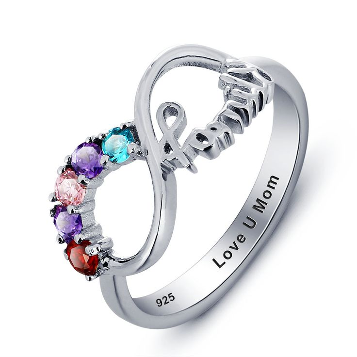 Sterling Silver Personalized 5 Birthstone 'Family' Infinity Ring – Sparkle & Jade