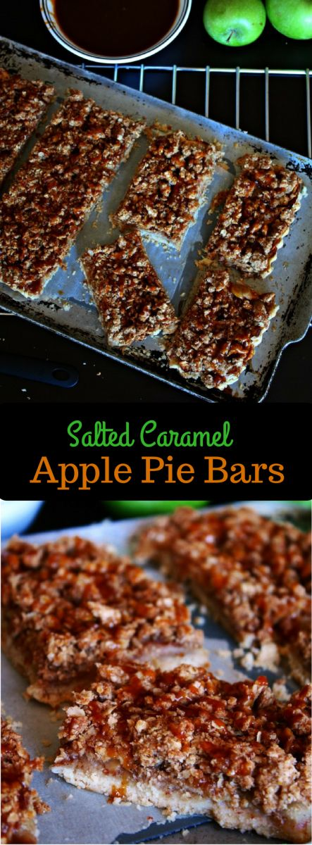 Salted Caramel Apple Pie Bars with Oat Crumble Topping and lots of ...