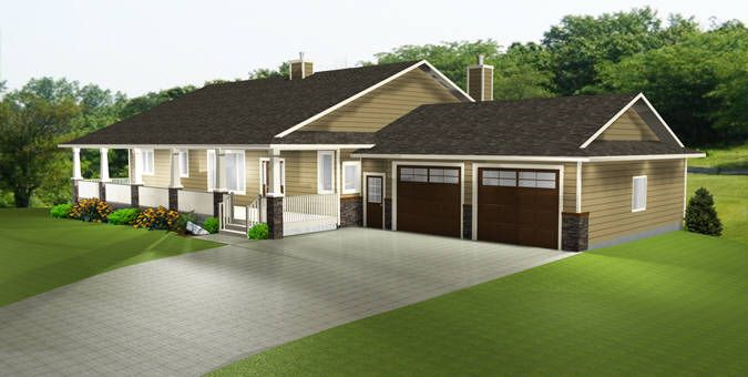HOUSE PLAN 2011545 - TRENDY RANCH STYLE BUNGALOW by Edesignsplans.ca.  Covered front veranda with posts, mudroom, 5 bedrooms, walk through pantry, walkout basement featuring large family room, wood stove, wet bar, and double doors into a separate theater room make this a great home plan.  Everyone's favorite.