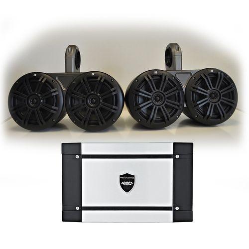 "Kicker Marine Dual Wake Tower System w/ 4 Charcoal 6.5"" Speakers, Wet Sounds HT-4 400 Watt Marine Amp"