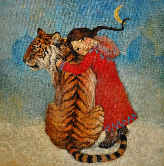 "Hand finished, limited edition giclée print of original painting by Lucy Campbell - ""Tiger for Tatiana"""
