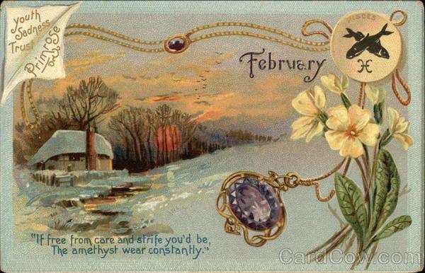 February Birthday - Amethyst and Primrose