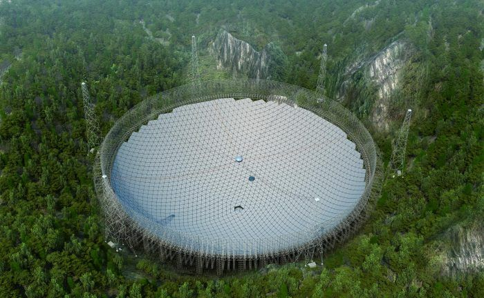 The Five-hundred-metre Aperture Spherical Telescope (FAST) has just finished construction in the southwestern province of Guizhou. Credit: FAST