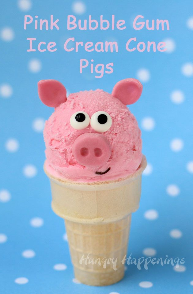 Turn 4 ingredient bubble gum ice cream into adorable Pink Bubble Gum Ice Cream Cone Pigs for some summer fun. Recipe at HungryHappenings.com.