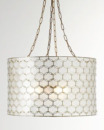 """Felicity Capiz Pendant Light at Horchow, 22 W x 13.5 T, 37"""" T with chain and canopy. 395 . dining room. Purchased."""