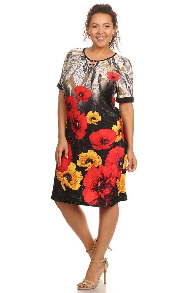 Plus Size Red Floral Shift Dress (Size 2X) #ECPlusSize #Shift #Casual