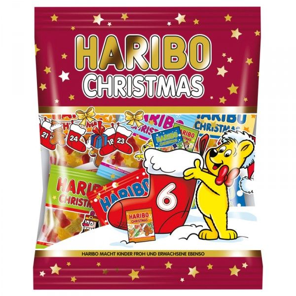 """""""Haribo Christmas"""" is suitable in the 250g bag with minibags in a variety of designs as a souvenir for the little ones at Christmas. Perfect for the Nikolaus sock, the self-designed Advent calendar or as a little treat for intercourse...."""