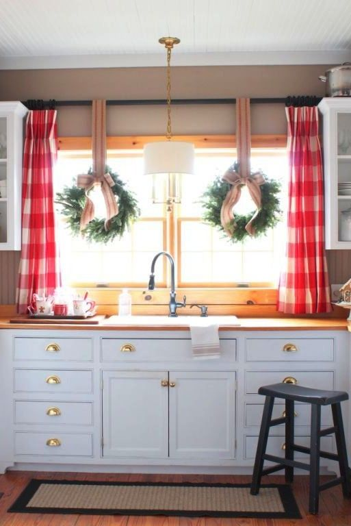 The House Talk Of The House Love This Kitchen With Beadboard Ceilings And Red Buffalo Farmhouse Window Treatmentskitchen