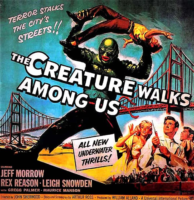 the creature walks among us 1956 affiches vintage pinterest cin ma affiche cin ma et. Black Bedroom Furniture Sets. Home Design Ideas