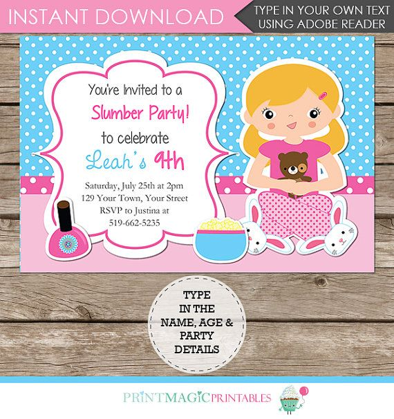Slumber Party Birthday Party Invitation  Editable by printmagic