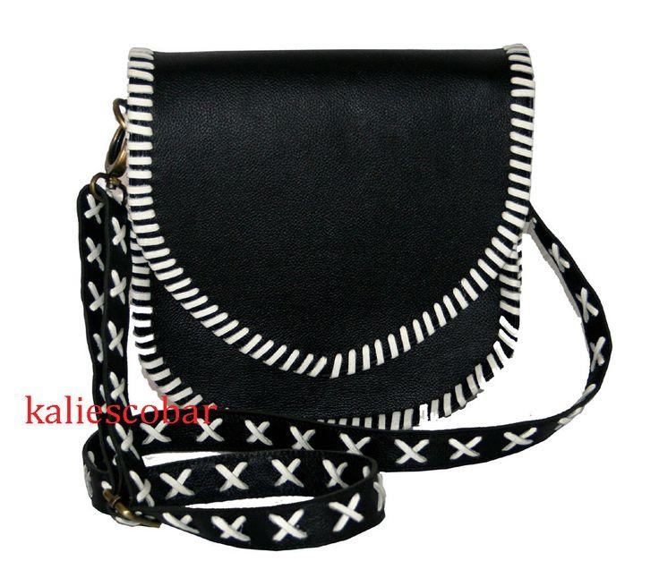 Fashion Women Lady Leather Sling Shoulder Bag Tote Black & White Hobo Dream Bag  #Handmade #MessengerCrossBody