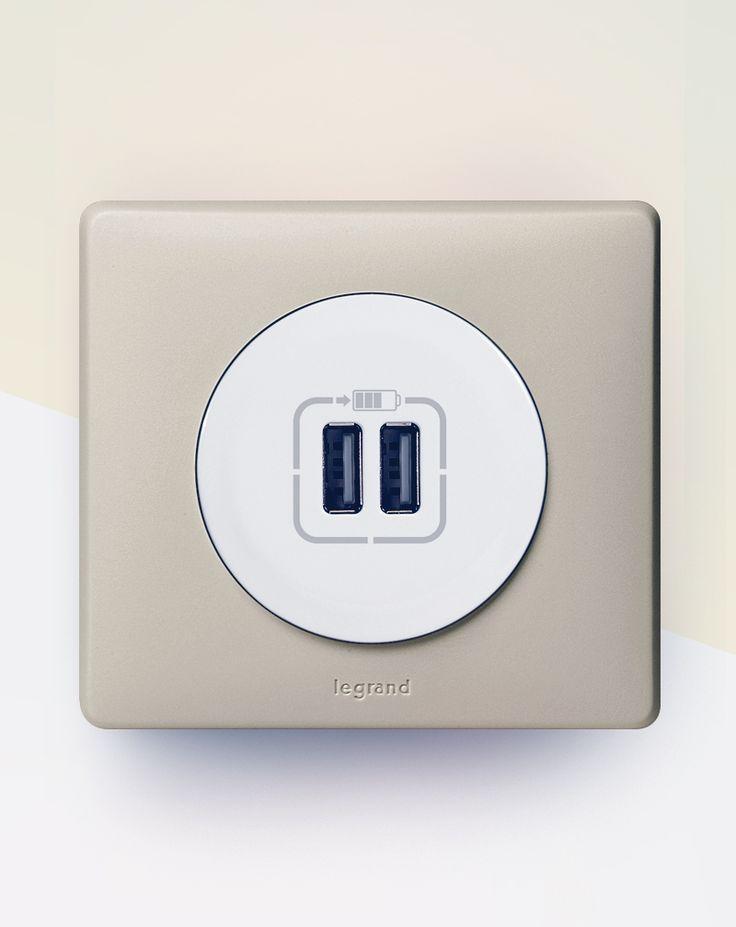 Double prise USB, pour recharger les téléphones et les tablettes simultanément. #Céliane #USB #prise