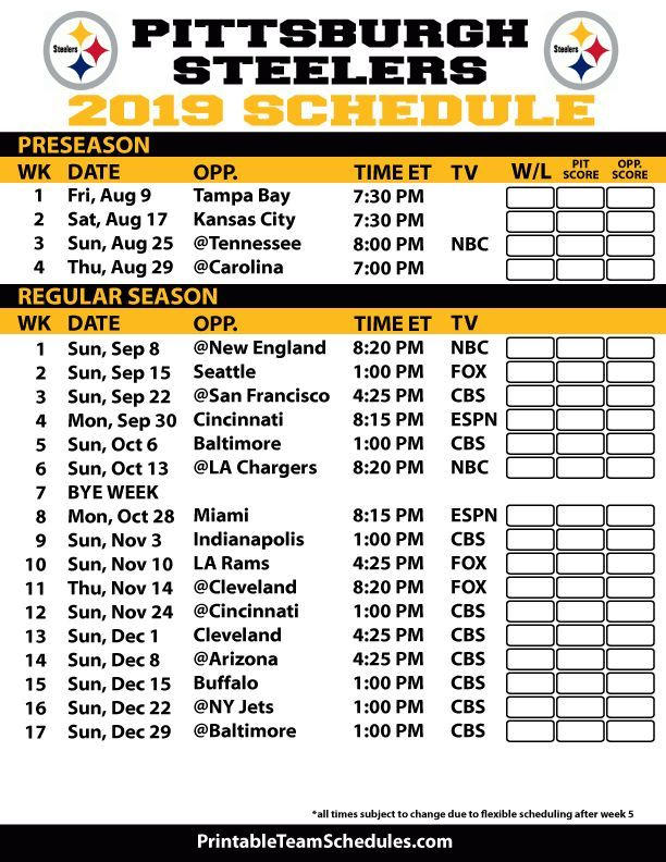 It is an image of Pittsburgh Steelers Printable Schedule in score