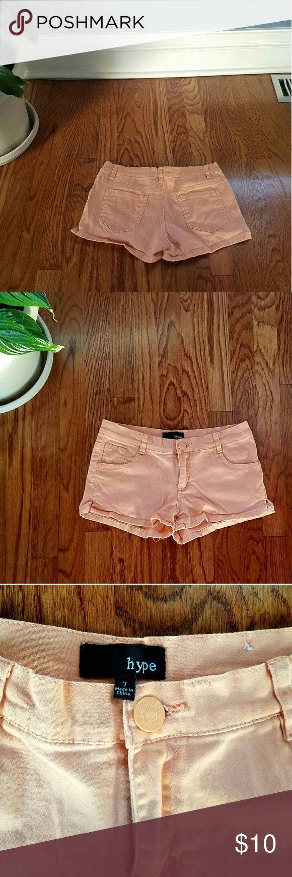 Hype peach shorts 🌻Light peach shorts. 🌻Soft material. 🌻Gently worn. 🌻From a pet and smoke free home. 🍂LOWEST🍂 Hype Shorts
