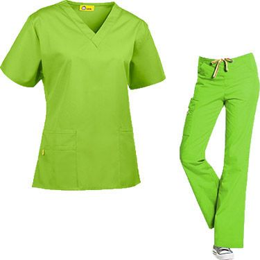 This sporty and flattering scrub set from Wonderwink Origins collection features a V-neck scrub top and drawstring scrub pants with lots of ...