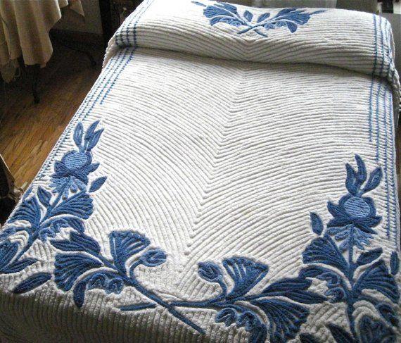 Vintage Blue Floral on White Chenille Bedspread by BarkingSandsVintage