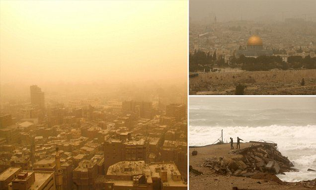 Raging sandstorm engulfs Israel, Palestine, Lebanon and Egypt: Airports and seaports close and swimmers are rescued from the Red Sea Sandstorm swept into Israel, Palestine and Lebanon causing air pollution and whipping up huge waves Storm is made up of accumulated dust carried from the far reaches of the Sahara Desert in North Africa