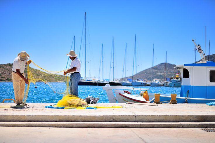Fishermen Lipsi Harbour, Greece
