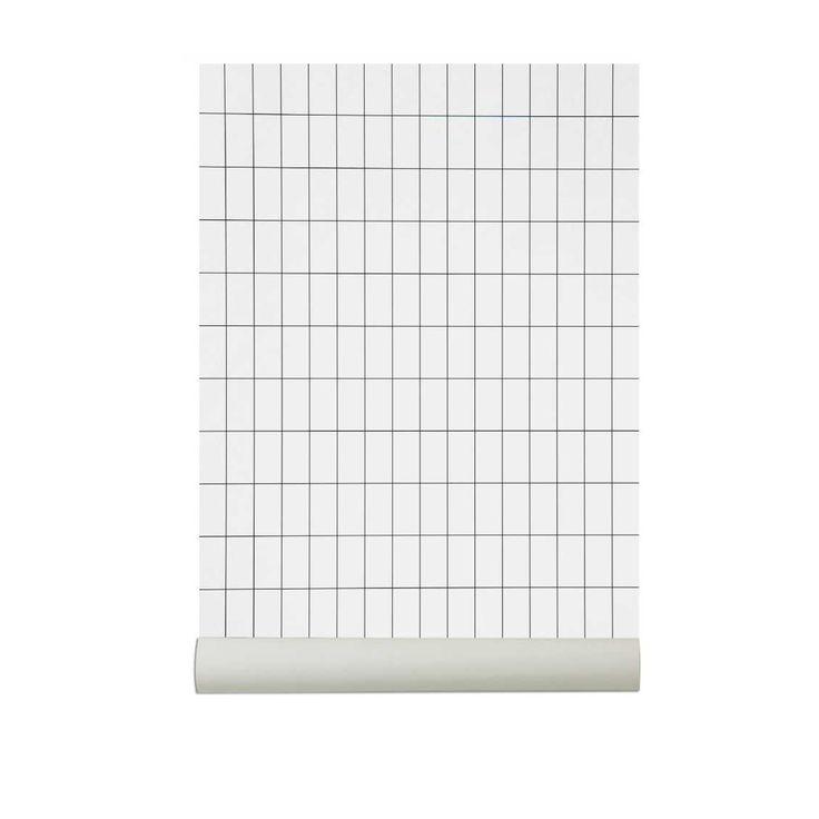 Ferm Living Behang Grid Zwart / Wit | MisterDesign