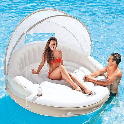 INTEX Canopy Island 199cm Schwimmliege Pool Wasserliege Badeinsel Luftmatratze in Spielzeug, Kinderbadespaß, Luftmatratzen   eBay