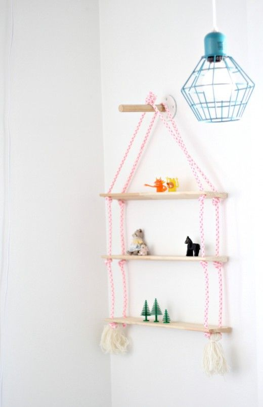 DIY Super Easy Rope Shelving for Kids