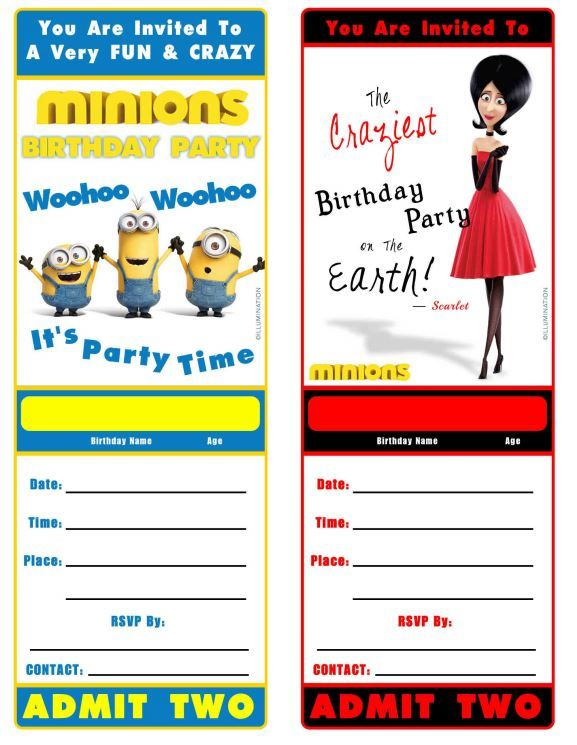 Free Minion Movie Printable Birthday Invitation Minions Minions