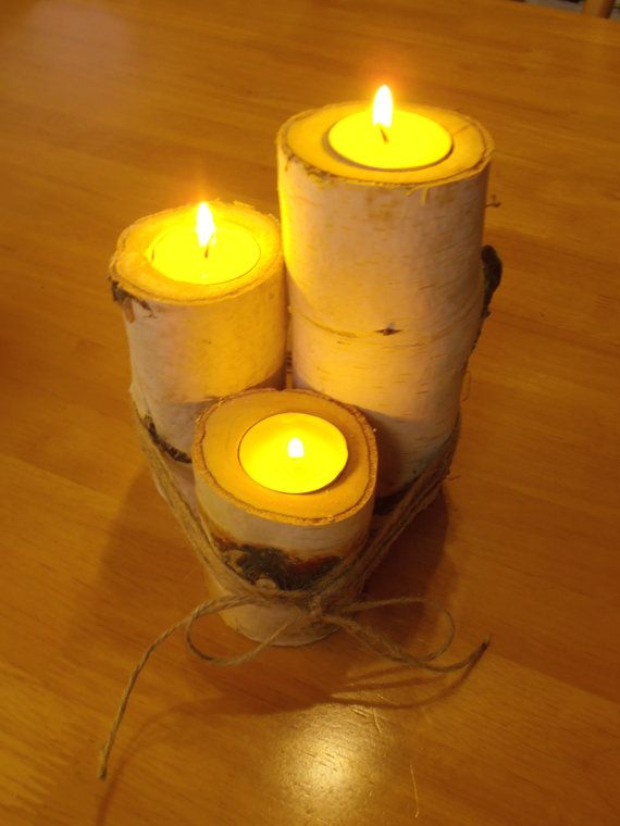 Wooden Candle Holders for 3 tea lights  6.9  4.7  2.6 by Iwanitu, €18.00