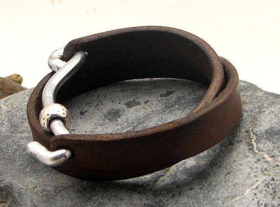 FREE SHIPPING Men's leather bracelet Brown leather by eliziatelye, $29.00