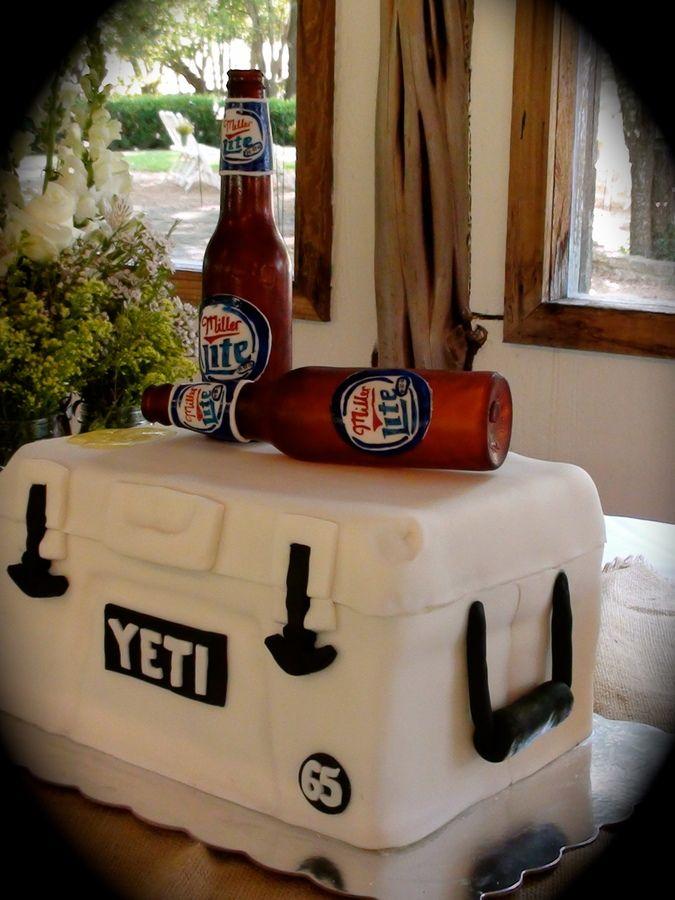 YETI cooler with Miller Lite sugar beer bottles