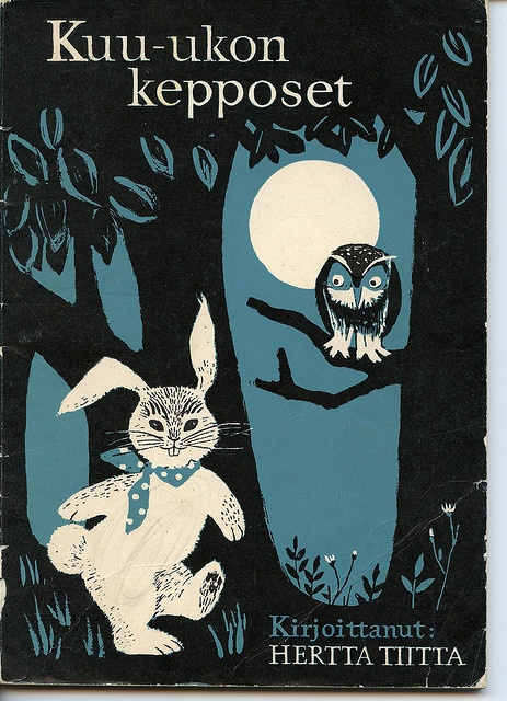 Vintage illustration of a cute owl and bunny 1951