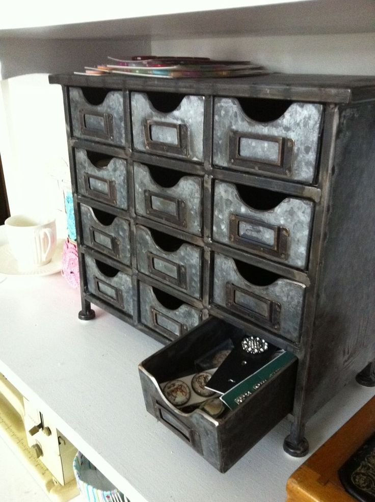 hobby lobby 12 drawer metal organizer | storage things I have is this metal chest that I bought at Hobby Lobby ...