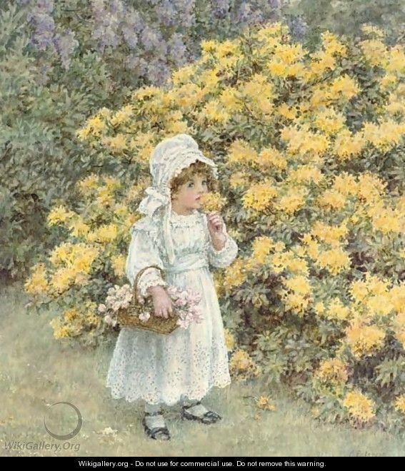 A little girl carrying a basket of flowers before an azalea bush - Caroline Paterson