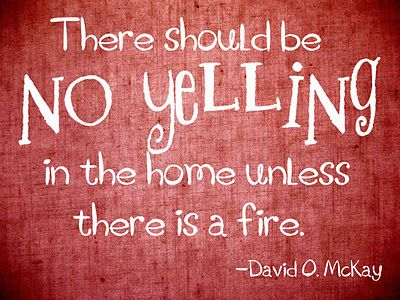 """There should be no yelling in the home unless there is a fire."" -David O. McKay"