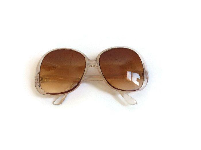 70s Sunglasses Vintage Oversized Sunglasses 1970s Sunglasses Jackie O Glasses Clear Hippie Mod Bug Eye Glasses Boho Sunglasses by GoodLuxeVintage on Etsy