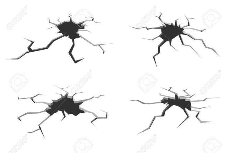 Set of cracks in ground isolated on white background for crash design Stock Vector