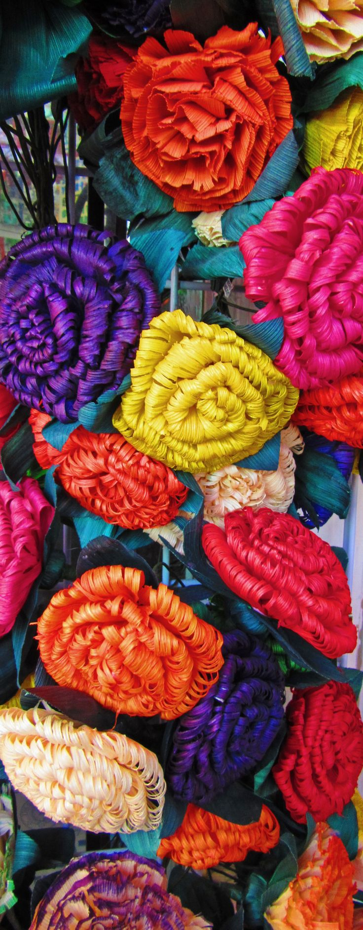 Colourful paper flwoers in the Historic Market Square district in San Antonio, Texas
