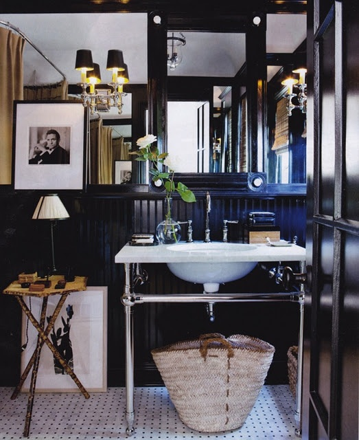 Black Lacquered Bathroom A Regency Ebony And Bone Mirror Is Propped Above Gramercy Single Metal Sink From Restoration Hardware